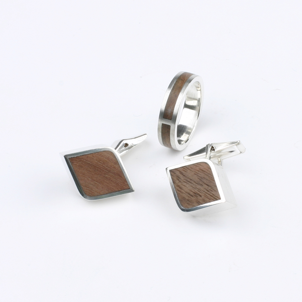 Cufflinks silver, wood inlay