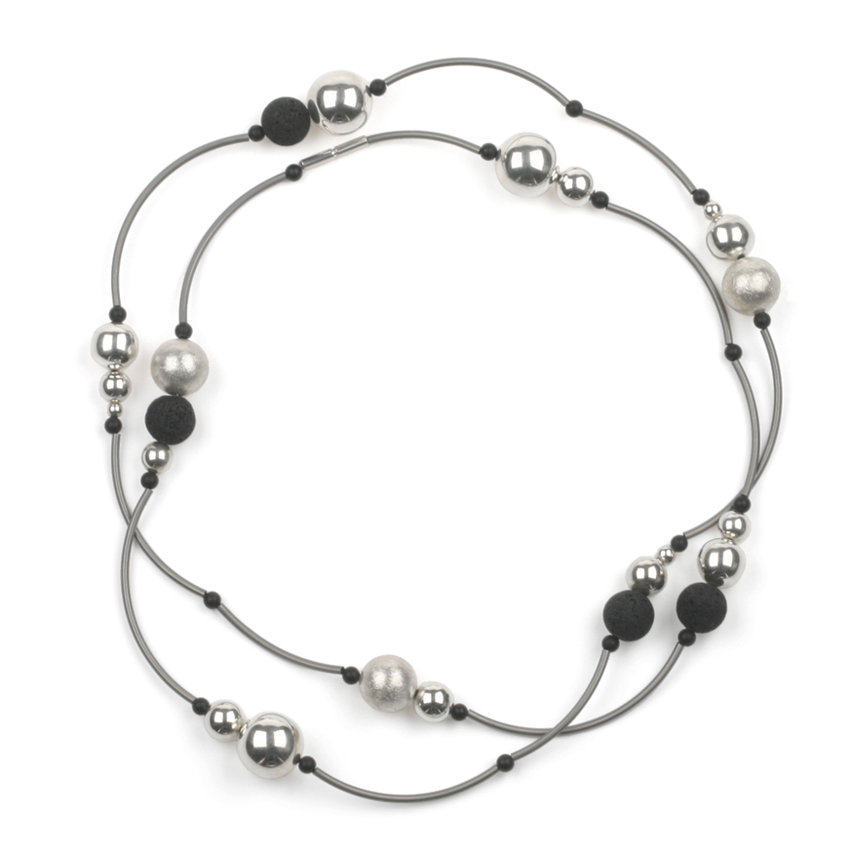 Long silver necklace with black beads1