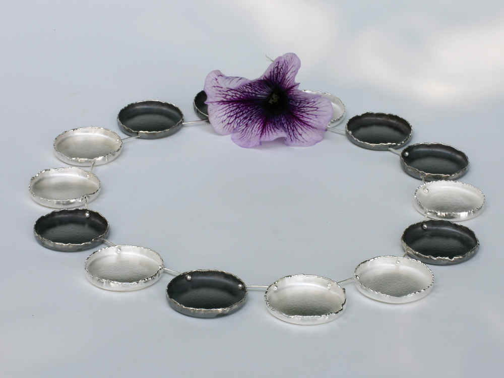 Silver necklace Victoria Amazonica  lily pads
