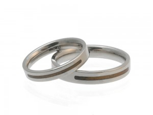Wedding ring Forever in white gold with wood inlay