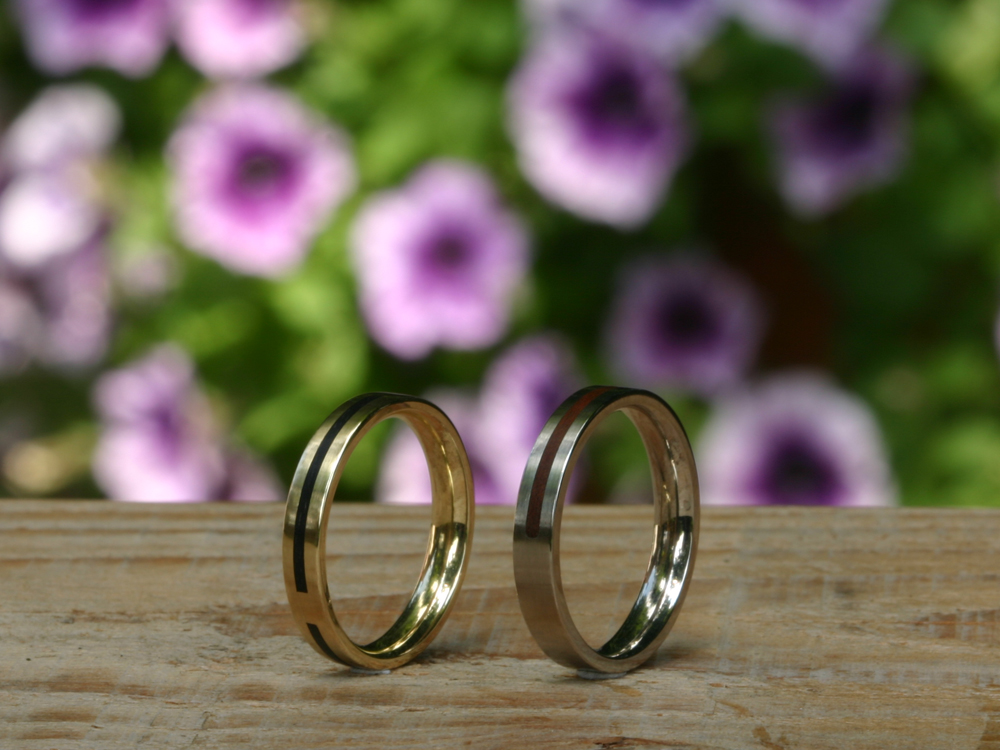 Wedding bands wood inlay