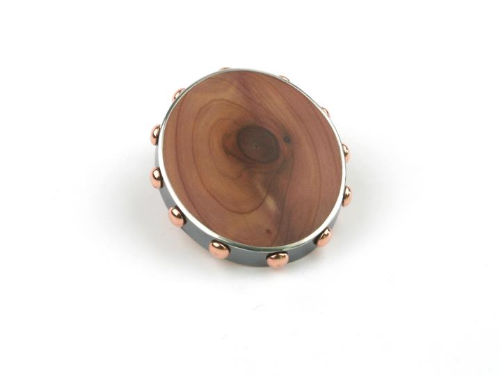 Brooch KNOCK ON WOOD 2 cedar silver copper
