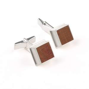 Silver cuff links cherry wood inlay