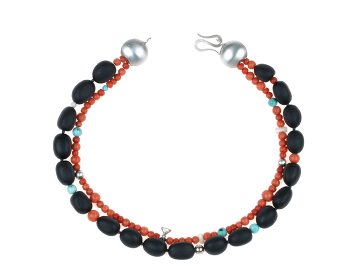 Necklace black beads red coral silver
