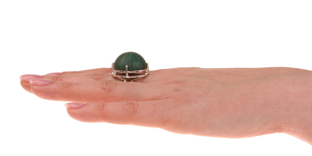 Big silver ring green stone