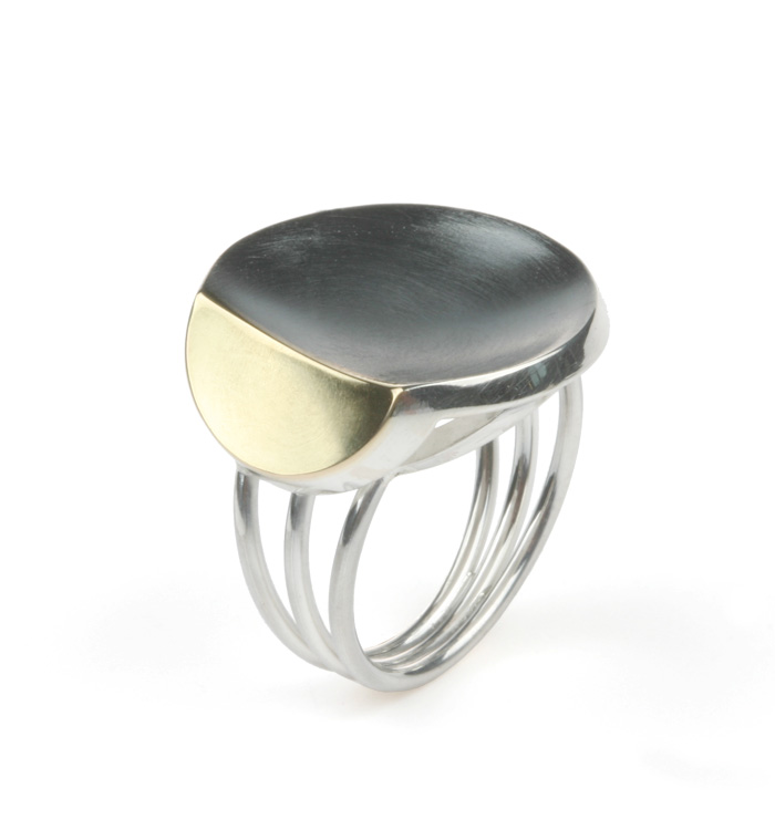 Small Leaf ring silver 18K yellow gold