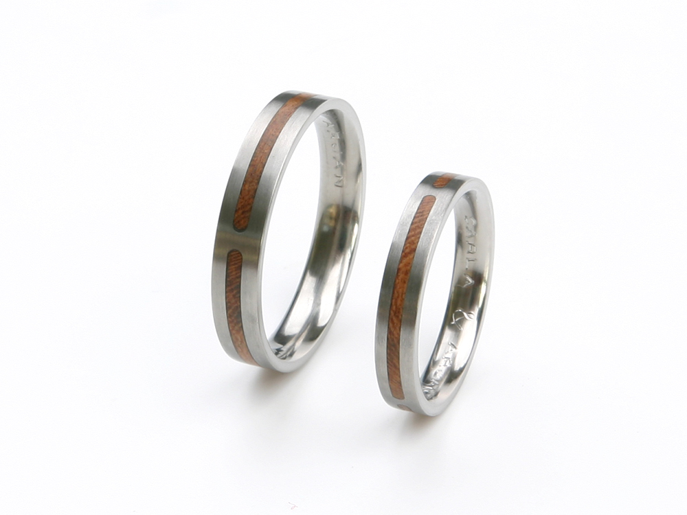 Titanium wedding rings with cherry wood