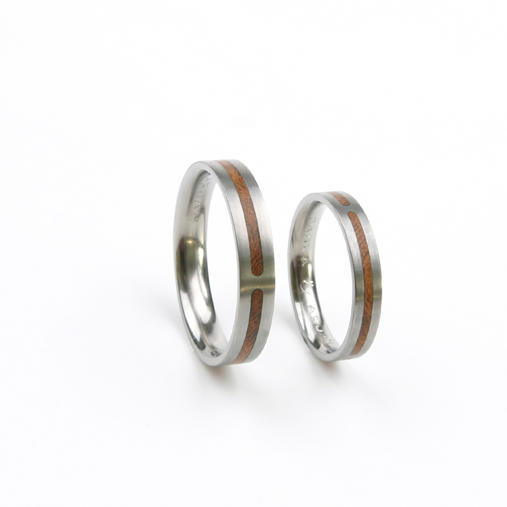 Titanium friendship ring with wood inlay