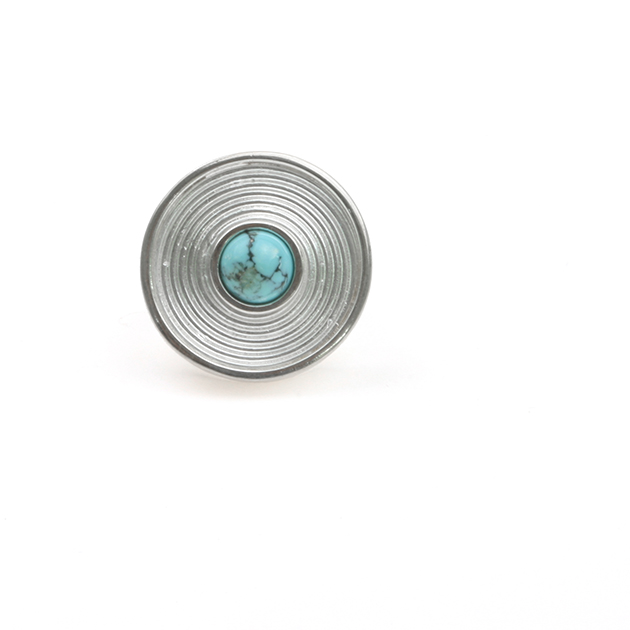 Grote ring zilver turkoois Labyrinth