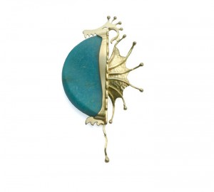 Pendant / Brooch Pregnant Dragon in gold and turquoise