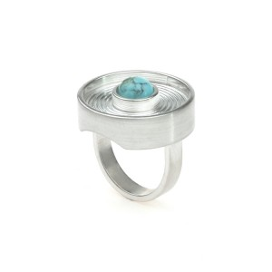 Ring Labyrinth in zilver en turkoois