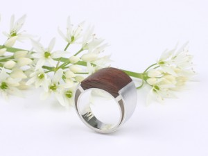 Big silver mens ring inlaid with wood