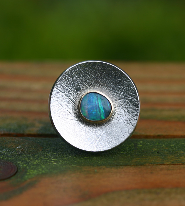 Big silver ring green opal VLIEGENDE SCHOTEL