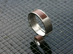 Mens bracelet in silver with wood inlay