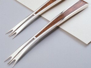 Sterling silver forks inlaid with wood