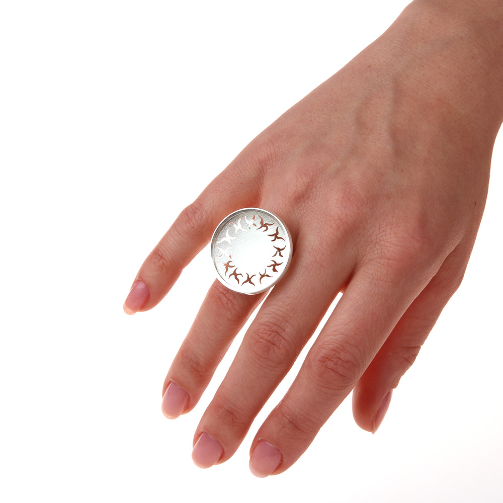 Big silver ring FLOWER POWER