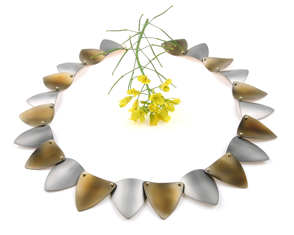 Necklace PIERROT in hues of yellow and grey