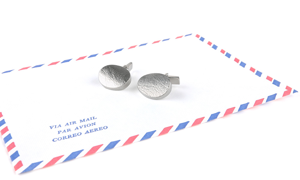 Oval silver cufflinks handcrafted