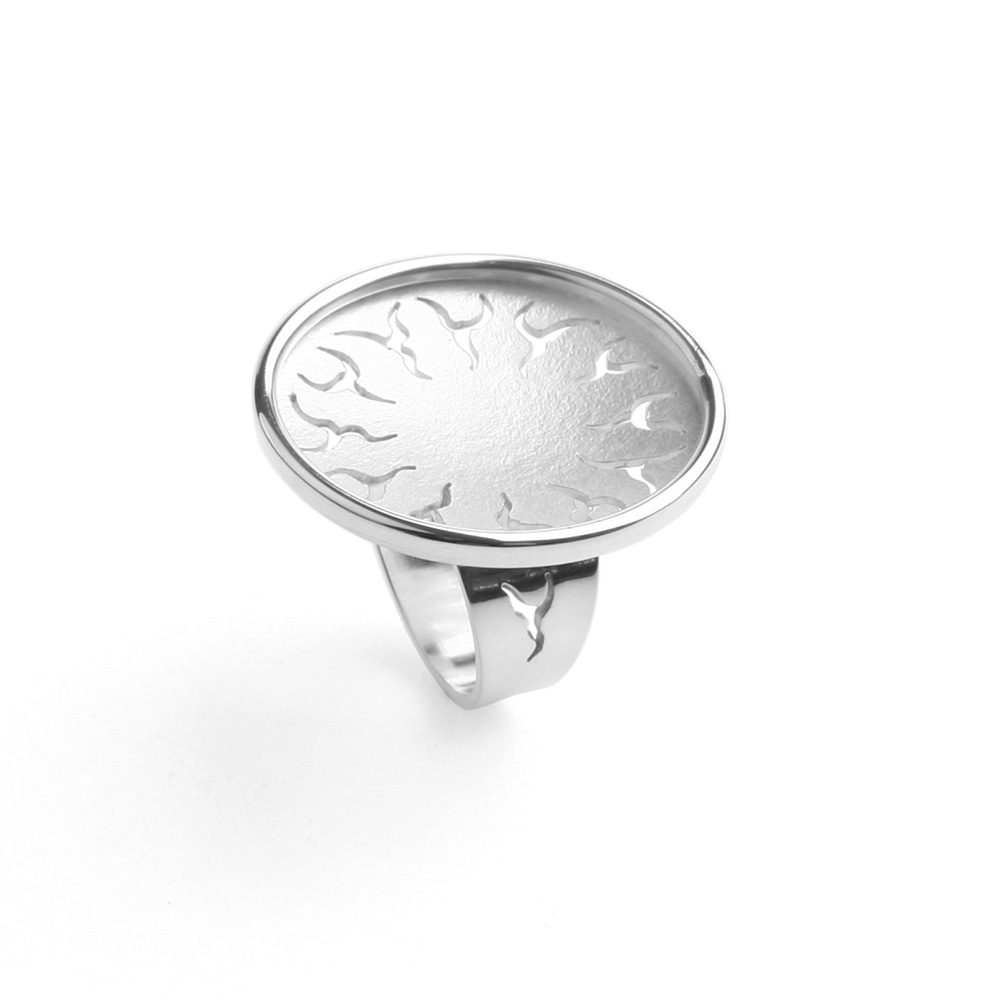 Grote Ring Flower Power zilver