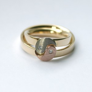 Wedding rings with Yin Yang symbol