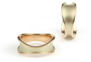 Together wedding bands in yellow gold