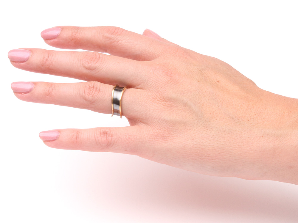 Wedding ring Together in silver with yellow gold