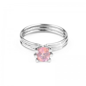 Ring made of white gold and a  pink beryl