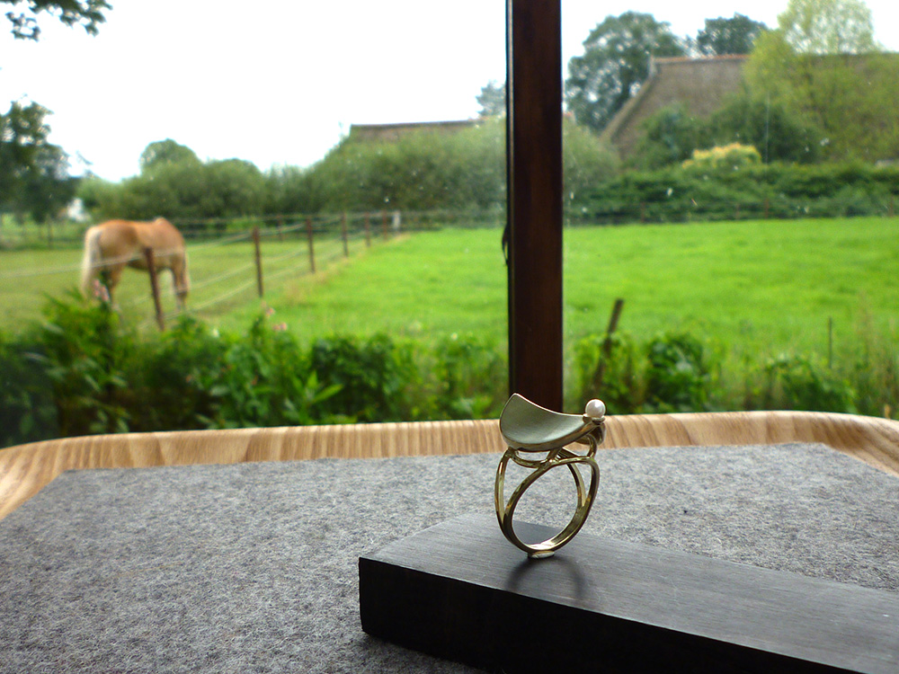 Home Sweet Home ring with a pearl