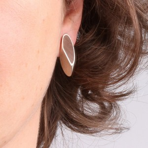 Earrings Knoest in silver and wood