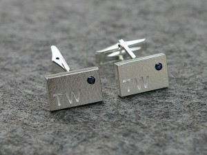 Cufflinks in silver with initials