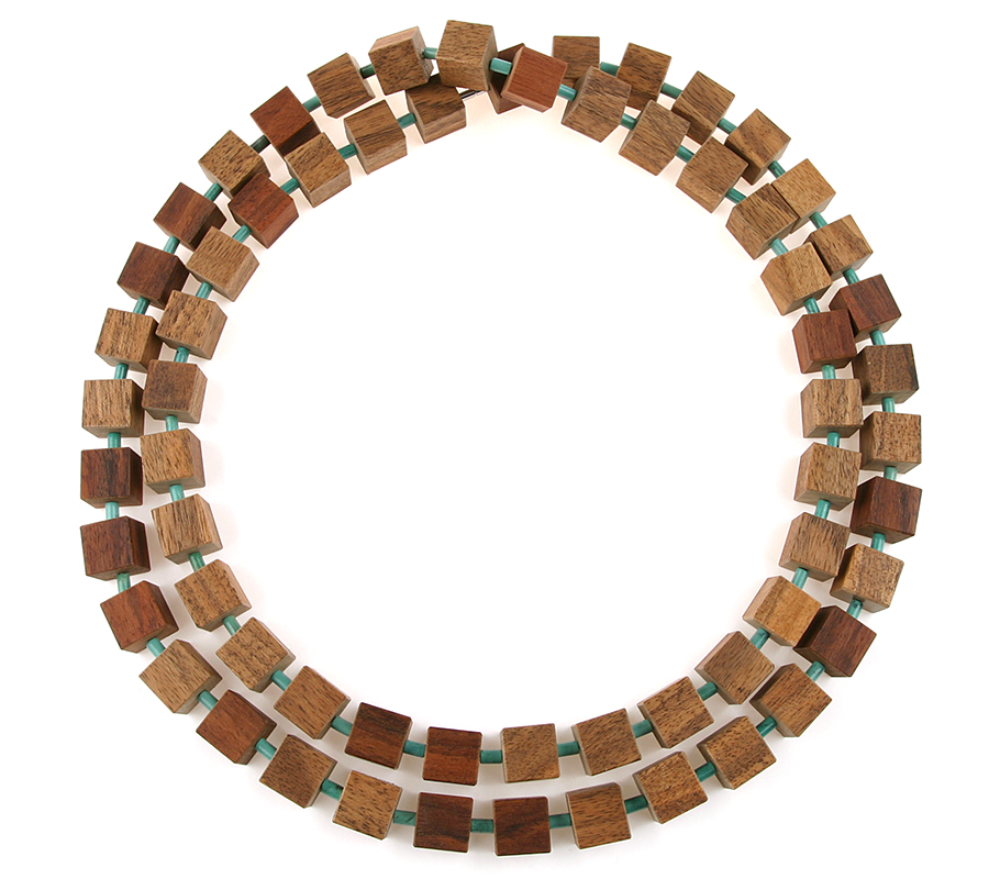 Necklace HIP TO BE SQUARE walnut turquoise