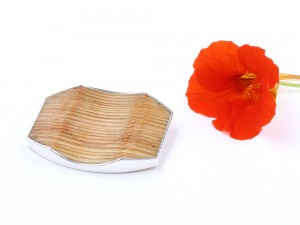 Big wooden brooch with silver