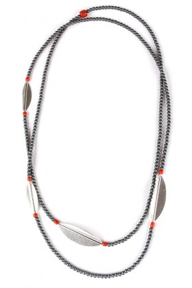 Long necklace made of silver and grey beads