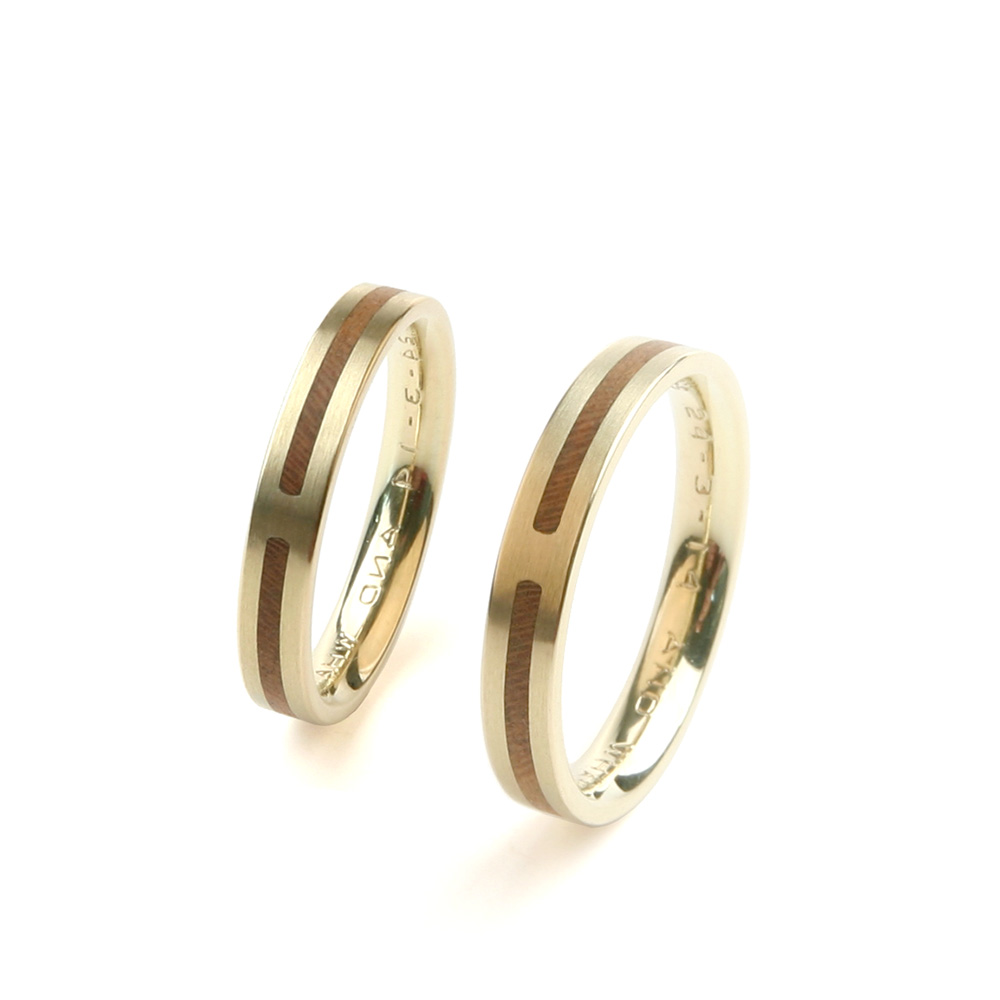 Wedding rings Forever in yellow gold and wood