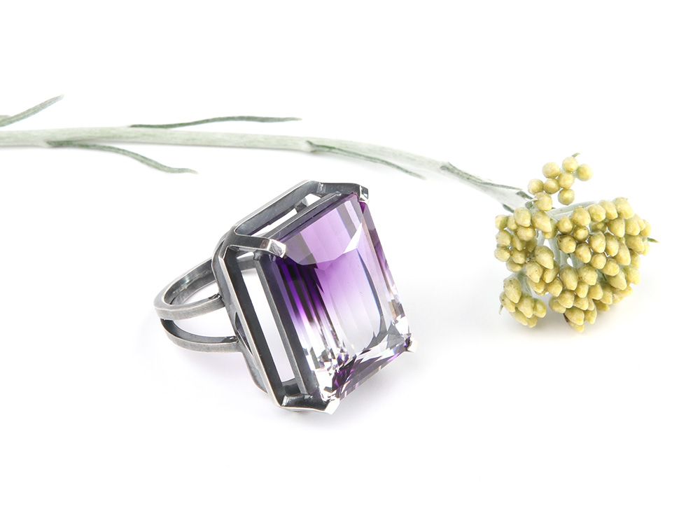 Silver ring with a Ametrine