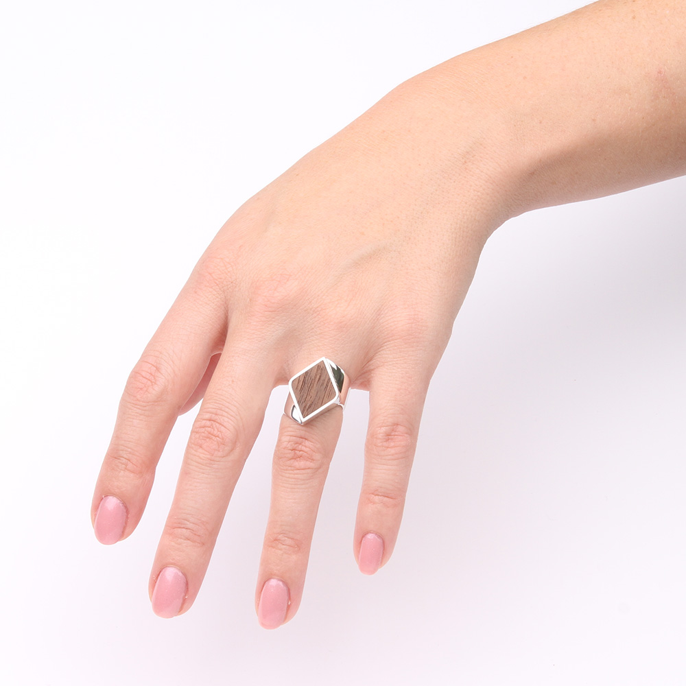 Silver diamond shaped ring with walnut wood