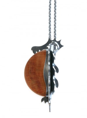 Pendant made of cherry wood and silver