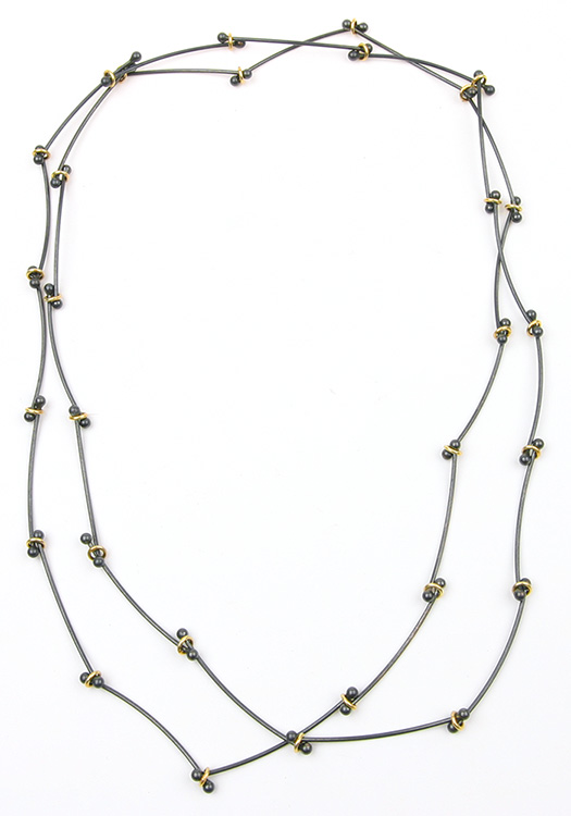 Daisy Chain silver gold long necklace