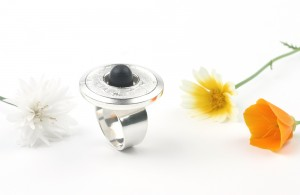 Big silver ring with ebony