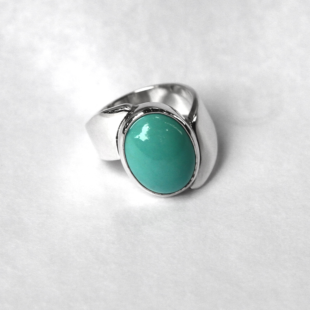 Silver ring with a real untreated turquoise
