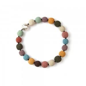 Necklace of large colored lava beads