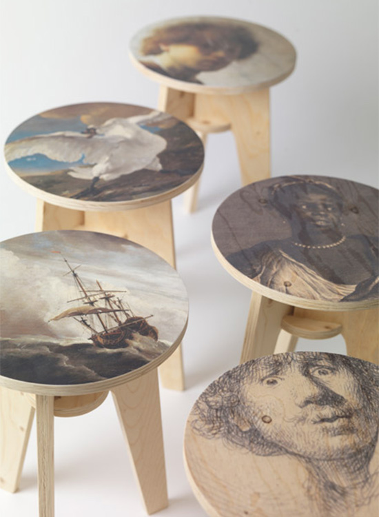 Plywood Print Stool collection