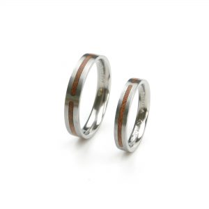 White gold wedding rings with cherry wood