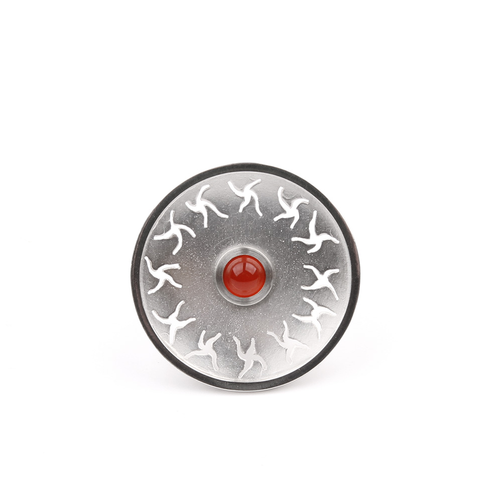 Large silver ring FLOWER POWER with carnelian