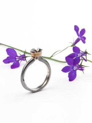 Engagement or wedding ring in silver and gold