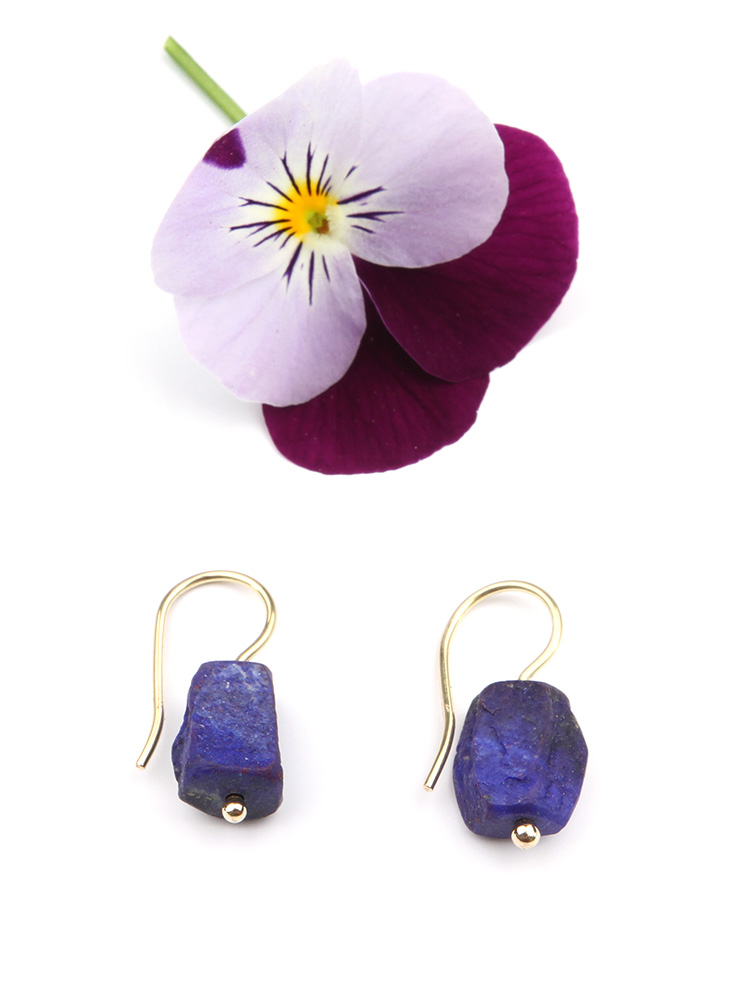 Earrings gold and Lapis Lazuli