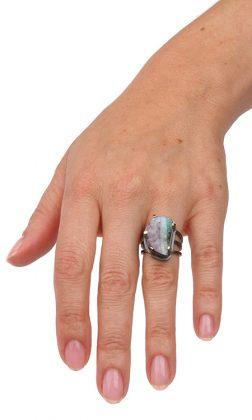 Great ring with a big Boulder opal