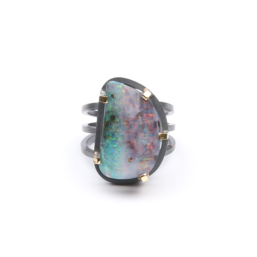 Ring with Boulder opal