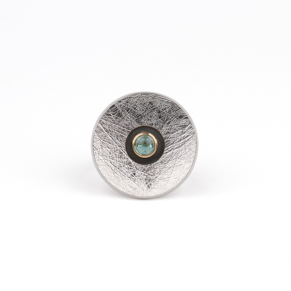 Big round silver ring with blue Tourmaline