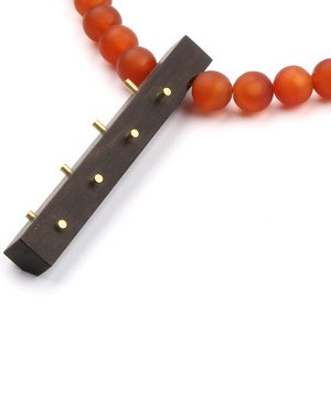 Gorgeous necklace made of carnelian and ebony